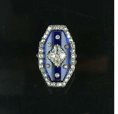 A late 18th century Bristol blue glass and diamond ring, circa 1790.