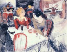 Charles Demuth (American, Nana (seated left) and Satin at Laure's Restaurant (Illustration for Emile Zola's Nana), Watercolor and pencil on paper, x cm. MoMa, New York Cabaret, Early American, American Art, Charles Demuth, School Painting, Paul Cezanne, Abstract Portrait, Museum Of Modern Art, Figure Drawing