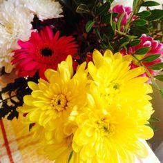 #mysundayphoto #flowers #yellow #pink #chrysanthemum #gerbera #pretty #nature #petals #flowerphotography