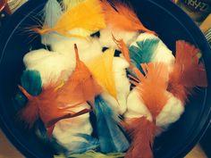Gruffalo; owl ice cream  Cotton wool and feathers :)
