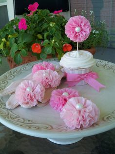 Ruffled Cupcake Toppers Set of Six by JeanKnee on Etsy, $9.00