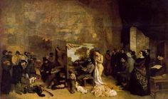 Titel: Het atelier van de schilder, een allegorie Kunstenaar: Gustave Courbet Datum: 1855 Materiaal: Olieverf op doek Museum: Musee d'Orsay, Parijs Stroming: Realisme
