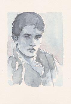 Simple, elegant watercolor by Jacob de Graaf. DailyPortrait.co.uk