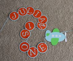 Airplane First Birthday Banner-- Orange, Light Blue and Lime Green-- Custom colors Available