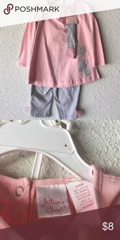 Girl's Pink/Grey Long Sleeve And Pant Outfit Size 24 Months (NWT) With Attached Headband Accessory Jillian's Closet Matching Sets