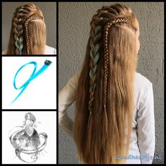 French braid and dutch braid with blue hair extensions from the webshop www.goudhaartje.nl (worldwide shipping).   #hair #hairstyle #braid #braids #hairstylesforgirls #plait #trenza #peinando #???????