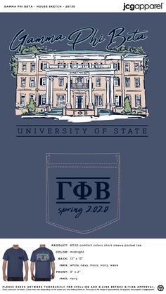 Gamma Phi Beta House Sketch Shirt | Sorority House Sketch Shirt | Greek House Sketch Shirt #gammaphibeta #gfb #gpb #House #Sketch #Shirt Greek House, Custom Design Shirts, Gamma Phi Beta, House Sketch, Sorority And Fraternity, Comfort Colors, Screen Printing, How To Get, Screen Printing Press
