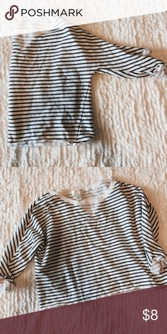 Semi Crop Top Sweater Blue and white stripe sweater• Great Condition• Large• 100% cotton• Comes on top of regular style Jean Kenar Sweaters Crew & Scoop Necks
