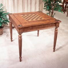 Keep family and friends close with this versatile game table. Play  chess, checkers, backgammon, cribbage, cards, even blackjack. Hidden storage area holds game pieces and replaceable boards. The perfect family gift for any occasion.