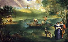 Fishing, Edouard Manet    Size: 76.8x123.2 cm  Medium: oil on canvas