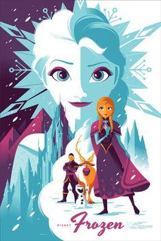 Frozen - Uma coleção de pôsters dos filmes da Disney. O trabalho fica por conta dos artistas da MondoCon, um estúdio que cria conceitos totalmente inovadores para HQs, desenhos, filmes e o que mais a cultura pop tiver para oferecer