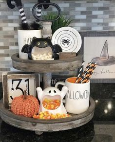 halloween house Classy country Halloween Decor from G G Luvs Dunn Rae Dunn and Witches Tiered Tray Diy Halloween Party, Halloween Kitchen Decor, Country Halloween, Casa Halloween, Fröhliches Halloween, Holidays Halloween, Halloween Treats, Cute Halloween Decorations, Fall Kitchen Decor