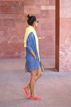 Chambray Shirt Dress and lace Espadrilles fab found @ Marshalls. weekend style, spring style, casual style
