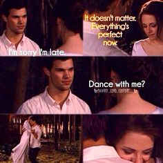 I am definitely team Edward, but I loved this scene from Breaking Dawn with Jacob and Bella Twilight Saga Quotes, Twilight Saga Series, Twilight New Moon, Twilight Series, Twilight Movie, Twilight Renesmee, Twilight Wedding, Breaking Dawn, Edward Bella