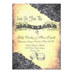 Vintage Grey Wedding Invitation