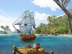 Pirate Art, Pirate Life, Pirate Island, Ship Paintings, Best Fan, Treasure Island, Fantasy Artwork, Archipelago, Far Away