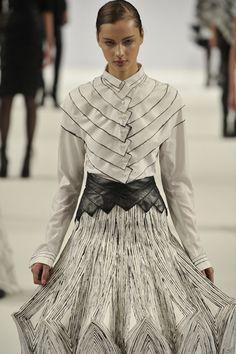 """Monochromatic dress combining a 3D silhouette, layered fabrics & hand-drawn geometric patterns; wearable art // """"Unfold,"""" Johanna Greenish"""