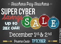 Cyber Monday & Tuesday sale! Don't forget to stock up on teaching resources while you're shopping online! http://www.teacherspayteachers.com/Store/Tracee-Orman