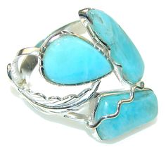 $70.85 Big! Perfect Light AAA Blue Larimar Sterling Silver Ring s. 10 1/2 at www.SilverRushStyle.com #ring #handmade #jewelry #silver #larimar