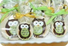 decorated owl cookies in bags