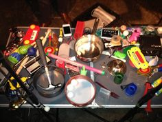 """""""Stewart Lee, Tania Chen and Steve Beresford perform 'Indeterminacy' by John Cage + Alan Tomlinson performs Cage's 'Solo for Sliding Trombone' Cafe OTO 2012-09-25""""  """"Here's a selection of some of the instruments used on the night !"""""""