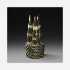 Lot 145: Axel Salto. Core of Power vessel. c. 1956 / 1975-1979, stoneware with dark Sung glaze. 9½ dia x 21 h in. estimate: $50,000–70,000. Incised signature and glazed three line wave mark and number to underside: [Salto 21373] with stamped manufacturer's mark: [Royal Copenhagen Denmark]. Sold with original design rendering. Provenance: Acquired in 1999 from Antik/Hostler Burrows, New York | Important Private Collection