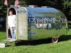 A darling Tin Can camper 1937 Bowlus Road Chief.