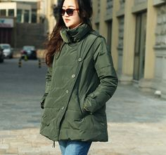 Plus Size Down Coat Side Pockets Thick Down Jacket Women Down Coat Bud Collar Loose Style