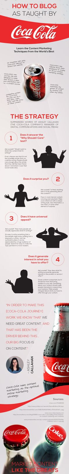 How to Blog, as Taught by Coca-Cola [INFOGRAPHIC] - http://dashburst.com/infographic/content-marketing-tips-coca-cola/