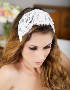 Ivory Lace Cap Ivory Headpiece Vintage Lace by GildedShadows, $106.00