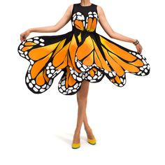 3-4yds black cotton fabric (sturdy not sheer); orange/yellow/white acrylic paint; hand sewer or hot glue gun; malleable wire; LBD. Cut fabric into 8+ different wing shapes (lopsided hearts). Paint a Monarch wing pattern on each. Orange as base + yellow for dimension. Wrap edges of fabric around your wire and secure it by sewing or gluing down. Clip wires at ends; pin/sew/glue each wing to dress. 1 wing for across chest, rest attached at or slightly below waist