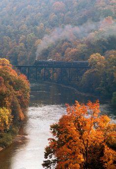 Reading Company (RDG) 4-8-4 steam locomotive 2102 on Mahoning Creek Bridge on the Pittsburg and Shawmut Railway (P), near Kittanning, Armstrong County, Pennsylvania, Autumn 1972 (by Ivan S. Abrams)
