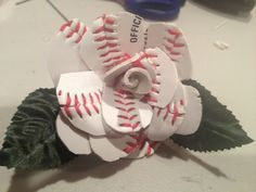 Leather baseball roses