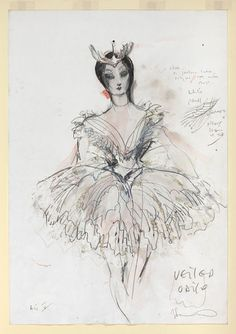 Costume design | Sonnabend, Yolanda | V&A Search the Collections Swan Lake Costumes, Swan Wings, Costume Design Sketch, A Level Textiles, Drawing Sketches, Drawings, Lake Art, Ballet Art, Art Costume