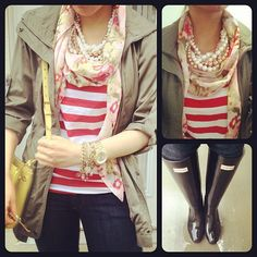 Rainy casual day: pearl + floral neon scarf + military jacket. Call me crazy but I really like this