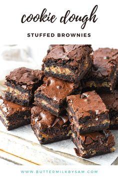 Cookie Dough Desserts, Cookie Dough Cheesecake, Cookie Dough Brownies, Frozen Cookie Dough, Cookie Dough Cupcakes, No Bake Cookie Dough, Brownie Toppings, Brownie Recipes, Chocolate Recipes