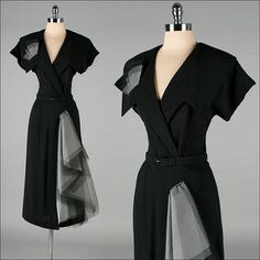 Vintage 1940s Dress Black Rayon Tulle Swag by millstreetvintage, $245.00: