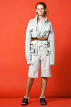 Acne created a luxe silk cargo short for resort 2015, which it styled with a belted cardigan of the same hue. Photo: Acne