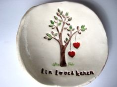 Two Hearts from Tree Couple Dish Persnalized wth by thebrickkiln, $28.00