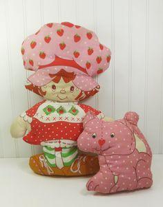 Strawberry Shortcake Pillow Doll with Custard, 1980s Large Plush Hand Sewn Cloth Doll