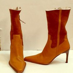 """Donald Pliner Boots Tan leather & suede boots with faux fur lining; 8-1/2"""" from top of 3-1/2"""" heel up the back; worn maybe 3 times; perfect condition except for scratches on the heels as shown in the last picture; reflected in the price! Donald J. Pliner Shoes"""