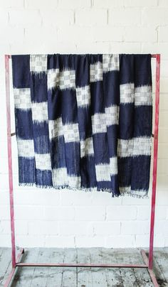 Nigerian Cotton Indigo Throw - Checks