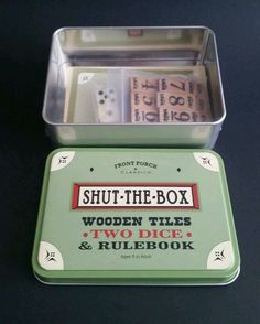 SHUT THE BOX DICE AND TILE GAME IN TIN BOX FRONT PORCH CLASSICS TRAVEL ROAD TRIP #FrontPorchClassics