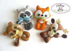 Woodland Animals set of Four PDF sewing pattern-Deer, Fox, Raccoon…