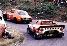 targa florio - an Alfa Romeo leads a Lancia Stratos. Sports Car Racing, Sport Cars, Race Cars, Martini Racing, Rally Car, Car Car, Classic Sports Cars, Classic Cars, Alfa Romeo