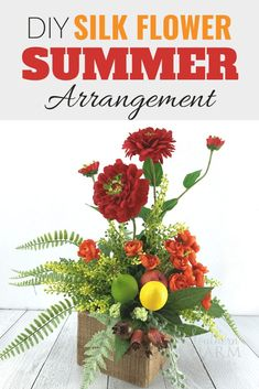 Learn how to make beautiful arrangements for your entryway and living room with my free tutorial. Arrangements and centerpieces also make great Mother's Day gifts, especially when they are made by you! I give you step by step instructions that will help to save you time when creating your DIY artificial flower arrangements! Artificial Flower Arrangements, Edible Arrangements, Artificial Flowers, Flower Bouquet Wedding, Gerbera Wedding, Bridal Bouquets, Do It Yourself Home, Summer Diy, Summer Wreath