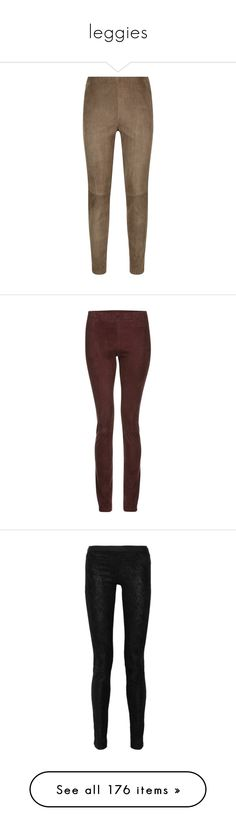 """leggies"" by applecocaine ❤ liked on Polyvore featuring pants, leggings, slim trousers, zipper pocket pants, slim pants, brown leggings, jersey pants, black, suede pants and stretch pants"