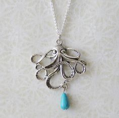 Octopus Statement Necklace / Beach Wedding Necklace / Silver Octopus Necklace / Turquoise Necklace / Boating Gift / Nautical Pirate Gift by SmittenKittenKendall on Etsy