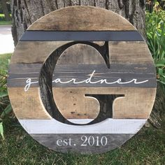 "18 ""Reclaimed Wood Monogram Cutout, Personalized Last Name Sign, Wedding Gift, Anniversary Gift - Pallet Wood Projects"