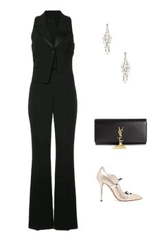 Jumpsuit and metallic blazer for a work holiday event 83e2a13a94a